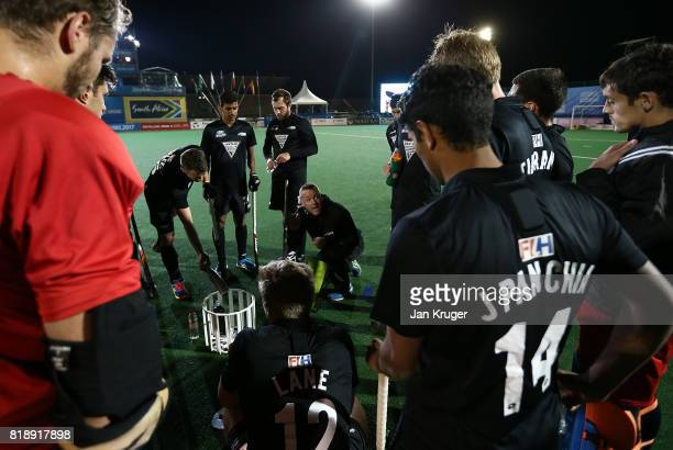 New Zealand players listen to instructions during day 6 of the FIH Hockey World League Men's Semi Finals quarter final match between Belgium and New...