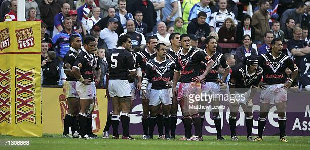 New Zealand players look on after Danny McGuire of Great Briatin scored a try during the XXXX Test match between Great Britain and New Zealand at...