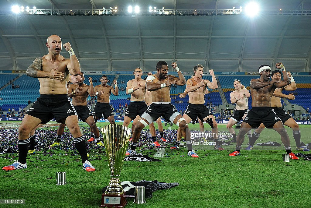 New Zealand players perform the haka after New Zealnad defeated Australia in the Cup final at the Gold Coast Sevens at Skilled Stadium on October 13, 2013 on the Gold Coast, Australia.