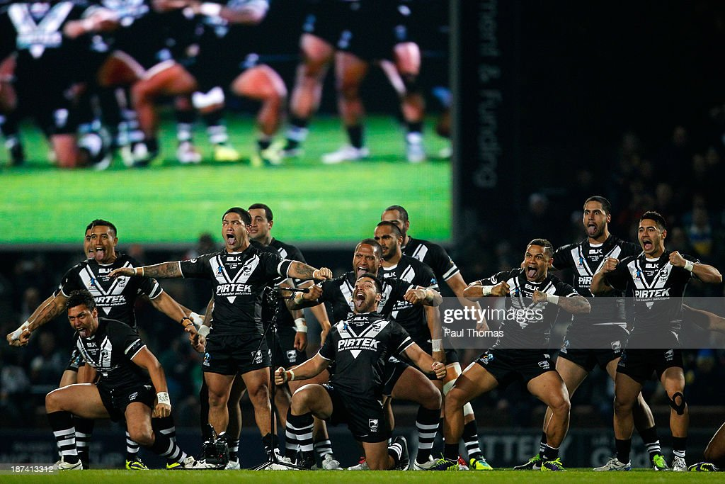 New Zealand players preform the Haka before the Rugby League World Cup Group B match at Headingley Stadium on November 8, 2013 in Leeds, England.