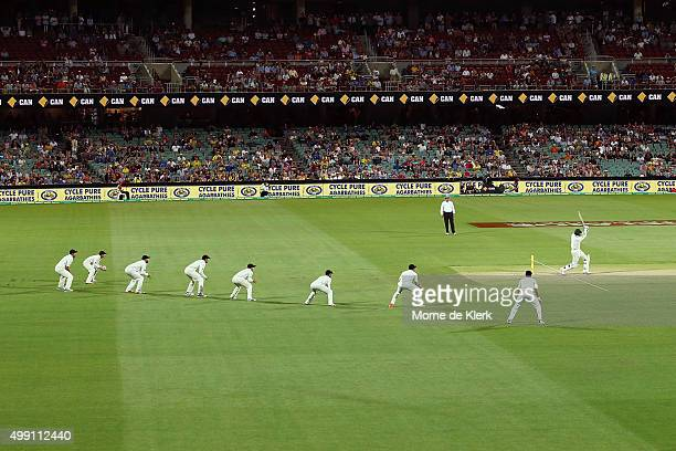 New Zealand players stand in the field during the last over of day three of the Third Test match between Australia and New Zealand at Adelaide Oval...