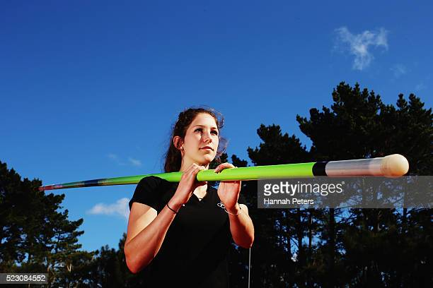 New Zealand pole vault athlete Eliza McCartney poses for a portrait during the New Zealand Olympic Athletics Team Selection announcement at the AUT...