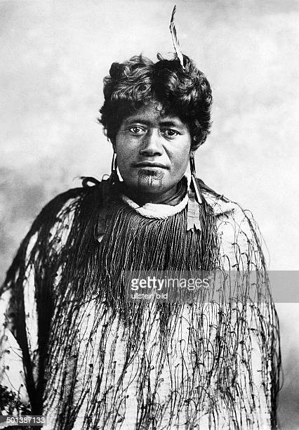 New Zealand portrait of a Maori woman with tattooed chin probably in the 1910's