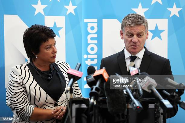 New Zealand Prime Minister Bill English and Police Minister Paula Bennett speak to media after the Prime Minister's State of the Nation speech at the...