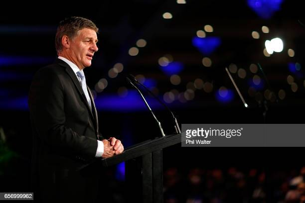 New Zealand Prime Minister Bill English delivers a speech on March 24 2017 in Auckland New Zealand The speech to the International Business Forum and...