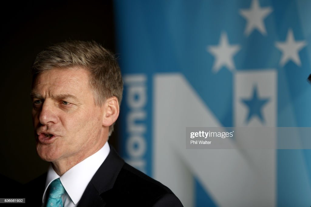 New Zealand Prime Minister Bill English speaks to workers and media at the Balle Brothers fresh produce plant in Pukekohe on August 22, 2017 in Auckland, New Zealand. National today announced plans to expand international trade access for Kiwi exporters to be able to trade with more regions by pushing to complete a Trans-Pacific Partnership deal.