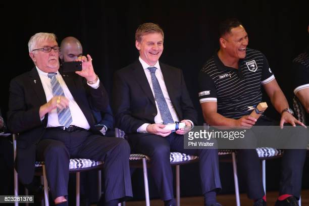 New Zealand Prime Minister Bill English with Kiwis coach David Kidwell and Sir Peter Leitch at Redoubt Primary School during a Rugby League World Cup...