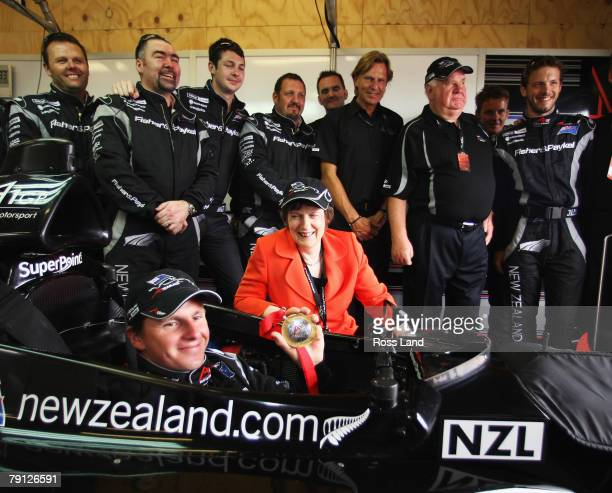 New Zealand prime Minister Helen Clark poses with Jonny Reid and the team New Zealand crew at the New Zealand round of the A1GP World Cup Of...