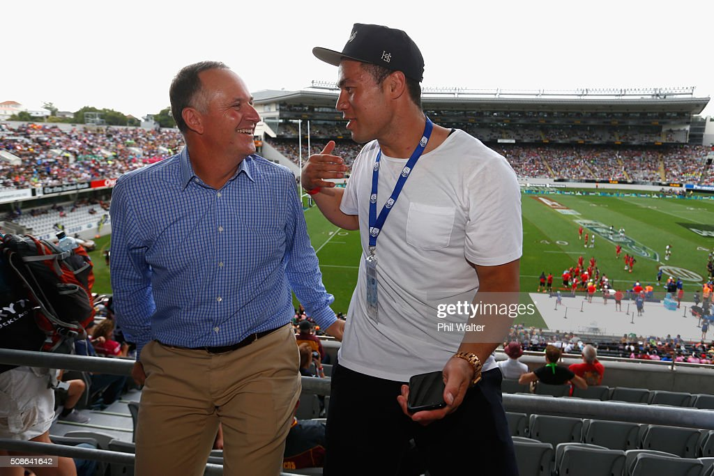 New Zealand Prime Minister <a gi-track='captionPersonalityLinkClicked' href=/galleries/search?phrase=John+Key&family=editorial&specificpeople=2246670 ng-click='$event.stopPropagation()'>John Key</a> (L) and boxer Joseph Parker (R) during the 2016 NRL Auckland Nines at Eden Park on February 6, 2016 in Auckland, New Zealand.