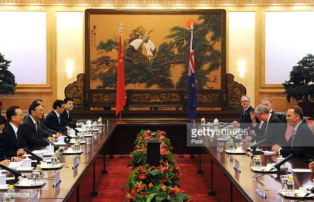 New Zealand Prime Minister John Key and Chinese premier Wen Jiabao during their meeting at the Great Hall of the People on April 15 2009 in Beijing...