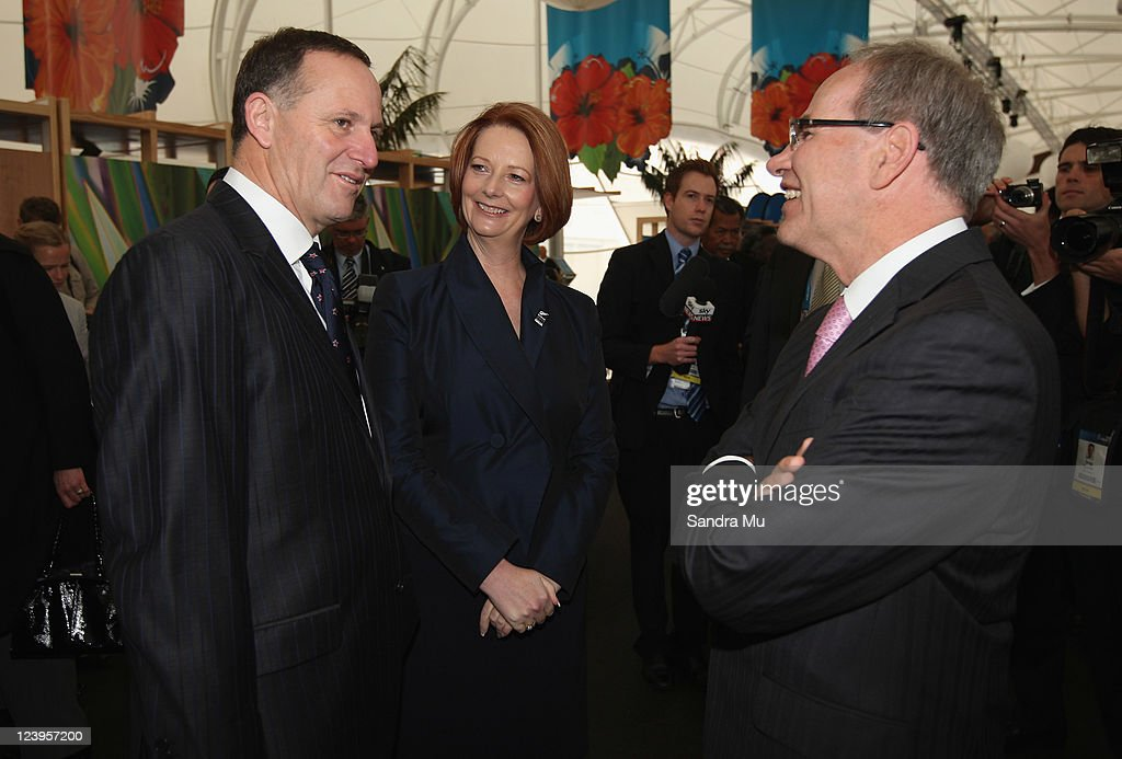 New Zealand Prime Minister <a gi-track='captionPersonalityLinkClicked' href=/galleries/search?phrase=John+Key&family=editorial&specificpeople=2246670 ng-click='$event.stopPropagation()'>John Key</a> (L), Australian Prime Minister <a gi-track='captionPersonalityLinkClicked' href=/galleries/search?phrase=Julia+Gillard&family=editorial&specificpeople=787281 ng-click='$event.stopPropagation()'>Julia Gillard</a> and Auckland Mayor Len Brown (R) chat before the Official Opening of the 42nd Pacific Forum at The Cloud on September 7, 2011 in Auckland, New Zealand. The annual gathering of leaders of the pacific nations has attracted heavyweight list of guests this year including United Nations Secretary General Ban Ki-moon, European Commission President Jose Manuel Barroso, the French Foreign Minister and the US Deputy Secretary of State. The forum conclusion coincides with the Opening Ceremony of the Rugby World Cup.
