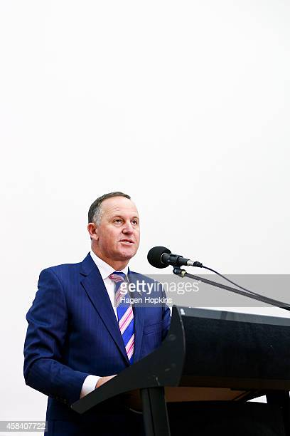 New Zealand Prime Minister John Key delivers a national security speech at Victoria University on November 5 2014 in Wellington New Zealand Key...