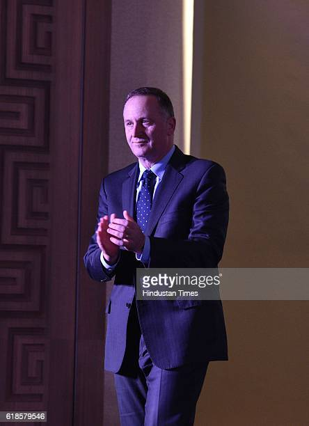 New Zealand Prime Minister John Key during an event to promote New Zealand Tourism in India on October 27 2016 in New Delhi India The event was aimed...