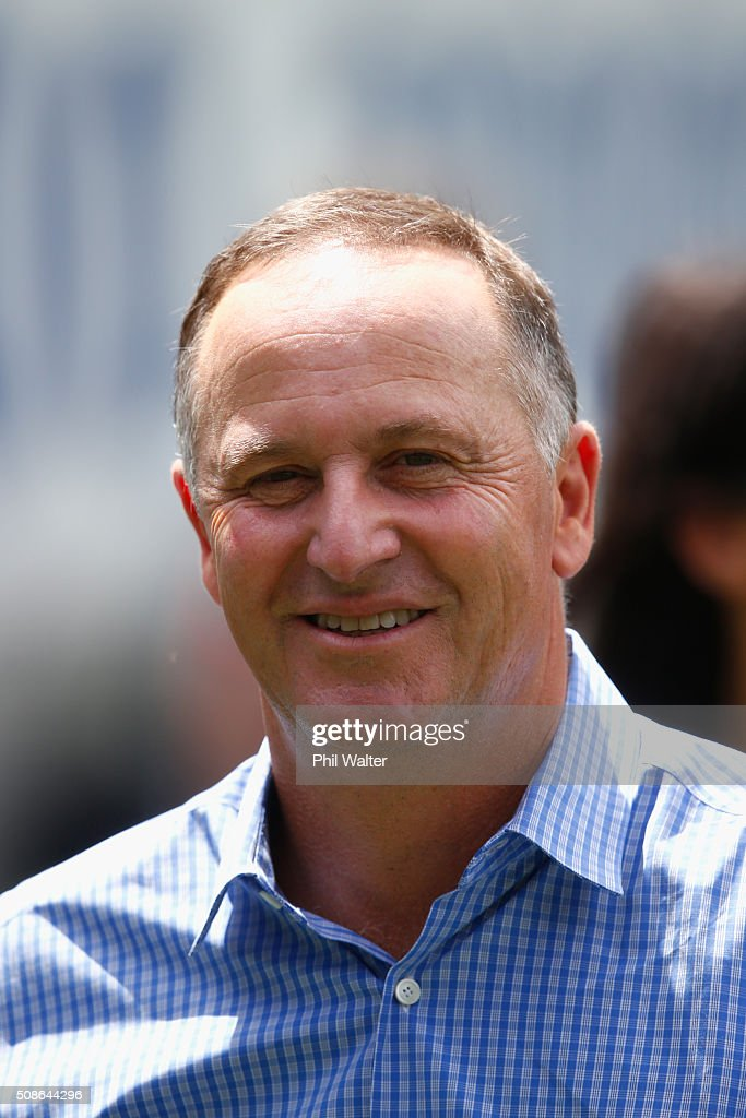 New Zealand Prime Minister <a gi-track='captionPersonalityLinkClicked' href=/galleries/search?phrase=John+Key&family=editorial&specificpeople=2246670 ng-click='$event.stopPropagation()'>John Key</a> during the 2016 NRL Auckland Nines at Eden Park on February 6, 2016 in Auckland, New Zealand.