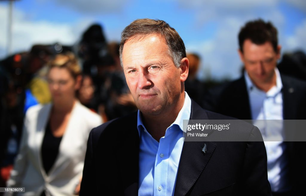 New Zealand Prime Minister <a gi-track='captionPersonalityLinkClicked' href=/galleries/search?phrase=John+Key&family=editorial&specificpeople=2246670 ng-click='$event.stopPropagation()'>John Key</a> fronts the media in the Auckland suburb of Hobsonville following a tornado that struck yesterday on December 7, 2012 in Auckland, New Zealand. Police today named the three men killed whilst working on a construction site when the tornado hit.