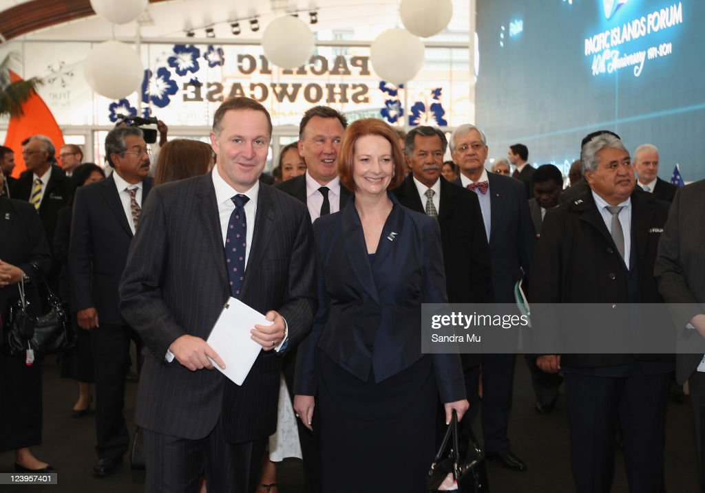 New Zealand Prime Minister <a gi-track='captionPersonalityLinkClicked' href=/galleries/search?phrase=John+Key&family=editorial&specificpeople=2246670 ng-click='$event.stopPropagation()'>John Key</a> (L) guides Australian Prime Minister <a gi-track='captionPersonalityLinkClicked' href=/galleries/search?phrase=Julia+Gillard&family=editorial&specificpeople=787281 ng-click='$event.stopPropagation()'>Julia Gillard</a> through the newly built Cloud before the Official Opening of the 42nd Pacific Forum at The Cloud on September 7, 2011 in Auckland, New Zealand. The annual gathering of leaders of the pacific nations has attracted heavyweight list of guests this year including United Nations Secretary General Ban Ki-moon, European Commission President Jose Manuel Barroso, the French Foreign Minister and the US Deputy Secretary of State. The forum conclusion coincides with the Opening Ceremony of the Rugby World Cup.
