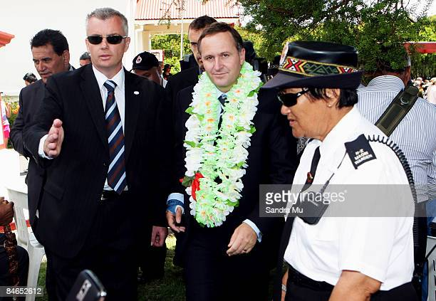 New Zealand Prime Minister John Key is escorted to the media after he was welcomed onto TeTii Marae on February 5 2009 in Waitangi New Zealand...