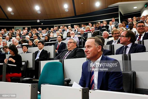 New Zealand Prime Minister John Key looks on before delivering a national security speech at Victoria University on November 5 2014 in Wellington New...
