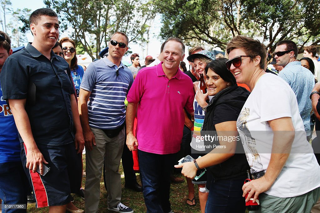 New Zealand Prime Minister <a gi-track='captionPersonalityLinkClicked' href=/galleries/search?phrase=John+Key&family=editorial&specificpeople=2246670 ng-click='$event.stopPropagation()'>John Key</a> meets members of the public at The Big Gay Out on February 14, 2016 in Auckland, New Zealand.