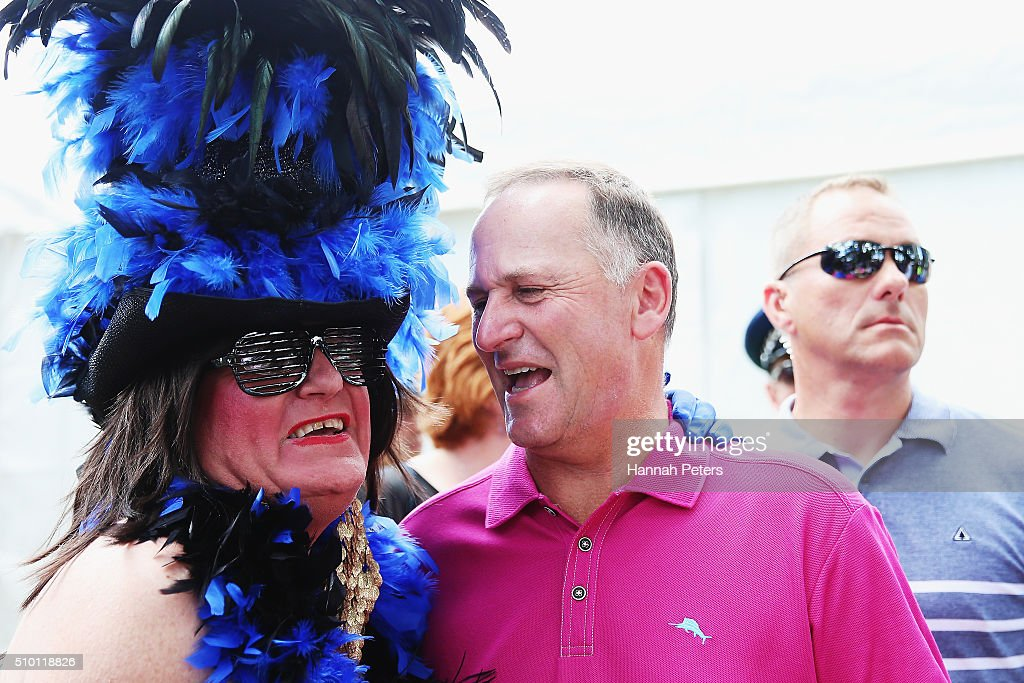 New Zealand Prime Minister John Key meets members of the public at The Big Gay Out on February 14, 2016 in Auckland, New Zealand.