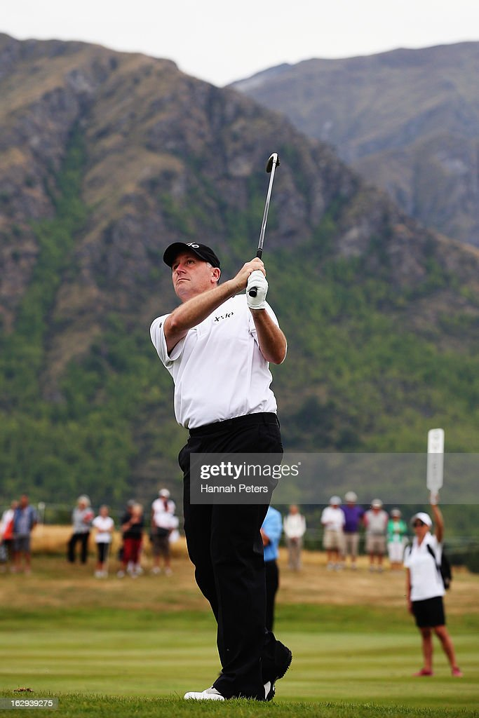 New Zealand Prime Minister John Key plays a shot during day three of the NZ PGA ProAm Championship at The Hills Golf Club on March 2, 2013 in Queenstown, New Zealand.