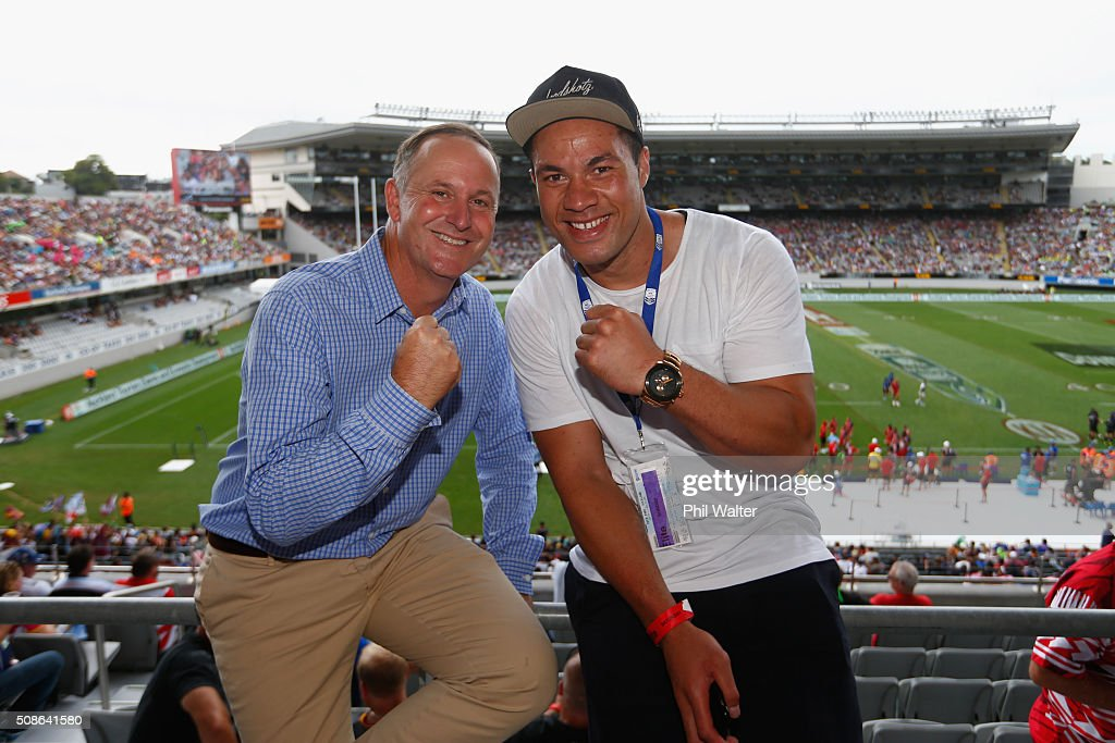 New Zealand Prime Minister John Key (L) poses with boxer Joseph Parker (R) during the 2016 NRL Auckland Nines at Eden Park on February 6, 2016 in Auckland, New Zealand.