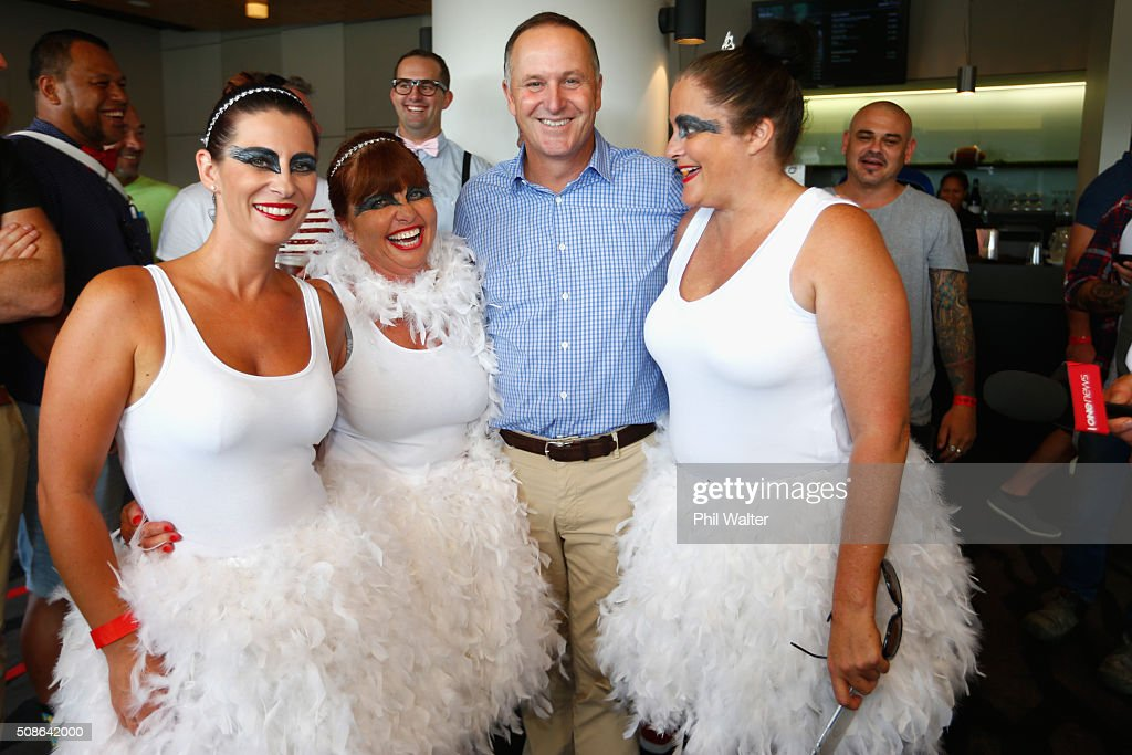 New Zealand Prime Minister <a gi-track='captionPersonalityLinkClicked' href=/galleries/search?phrase=John+Key&family=editorial&specificpeople=2246670 ng-click='$event.stopPropagation()'>John Key</a> poses with fans during the 2016 NRL Auckland Nines at Eden Park on February 6, 2016 in Auckland, New Zealand.