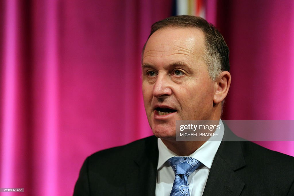 New Zealand Prime Minister John Key speaks at a press confernce with French Prime Minister Manuel Valls at the Auckland War Memorial Museum in Auckland on May 2, 2016. Valls arrived in New Zealand on May 1 after visiting the French Pacific territory of New Caledonia, with officials in his delegation confirming that he will detour to Australia later on May 2. / AFP / MICHAEL