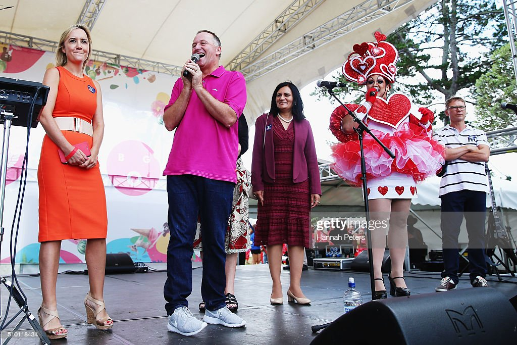 New Zealand Prime Minister <a gi-track='captionPersonalityLinkClicked' href=/galleries/search?phrase=John+Key&family=editorial&specificpeople=2246670 ng-click='$event.stopPropagation()'>John Key</a> speaks at The Big Gay Out on February 14, 2016 in Auckland, New Zealand.