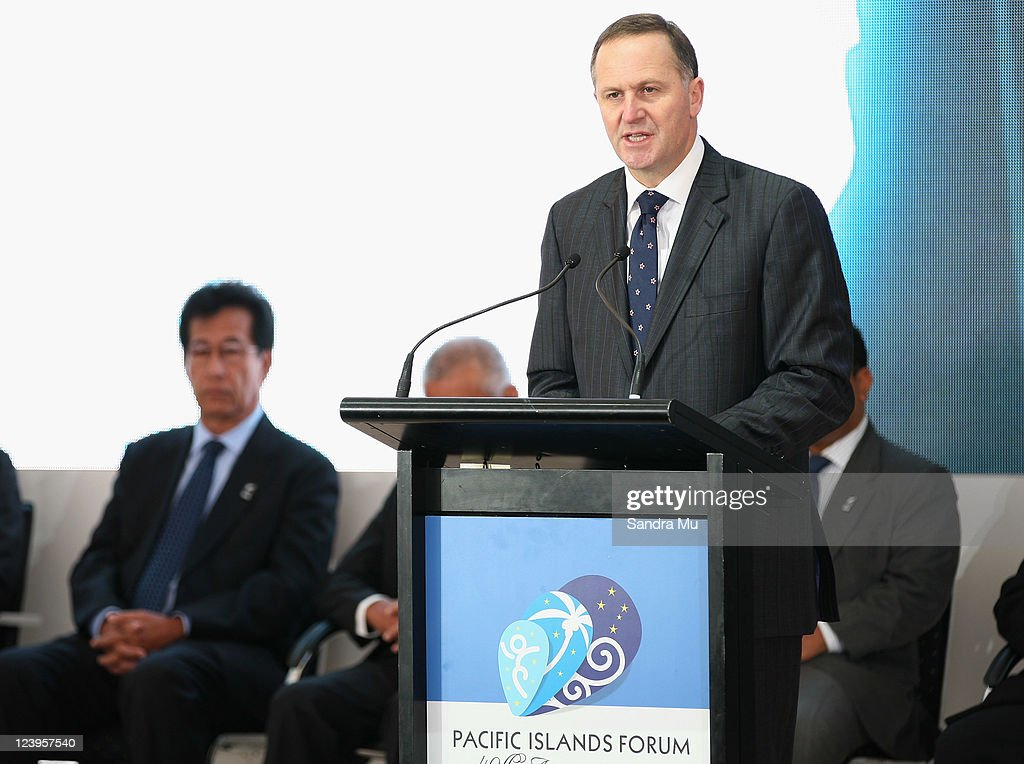 New Zealand Prime Minister <a gi-track='captionPersonalityLinkClicked' href=/galleries/search?phrase=John+Key&family=editorial&specificpeople=2246670 ng-click='$event.stopPropagation()'>John Key</a> speaks at the Official Opening of the 42nd Pacific Forum at The Cloud on September 7, 2011 in Auckland, New Zealand. The annual gathering of leaders of the pacific nations has attracted heavyweight list of guests this year including United Nations Secretary General Ban Ki-moon, European Commission President Jose Manuel Barroso, the French Foreign Minister and the US Deputy Secretary of State. The forum conclusion coincides with the Opening Ceremony of the Rugby World Cup.