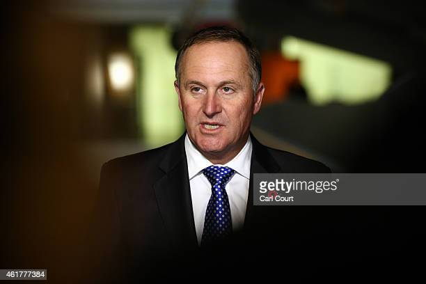 New Zealand Prime Minister John Key speaks to the media during a visit with Culture Secretary Sajid Javid to the Imperial War Museum on January 19...
