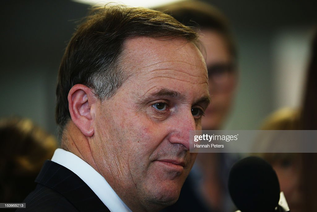 New Zealand Prime Minister <a gi-track='captionPersonalityLinkClicked' href=/galleries/search?phrase=John+Key&family=editorial&specificpeople=2246670 ng-click='$event.stopPropagation()'>John Key</a> speaks to the media on his use of intelligence services to carry out illegal surveillance of Kim Dotcom on October 12, 2012 in Auckland, New Zealand. Dotcom, a New Zealand resident and the founder of Megaupload, is currently facing charges of internet piracy and breaking copyright law.