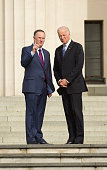 New Zealand Prime Minister John Key speaks with US Vice President Joe Biden before a wreathlaying ceremony at the War Memorial in Auckland July 21...