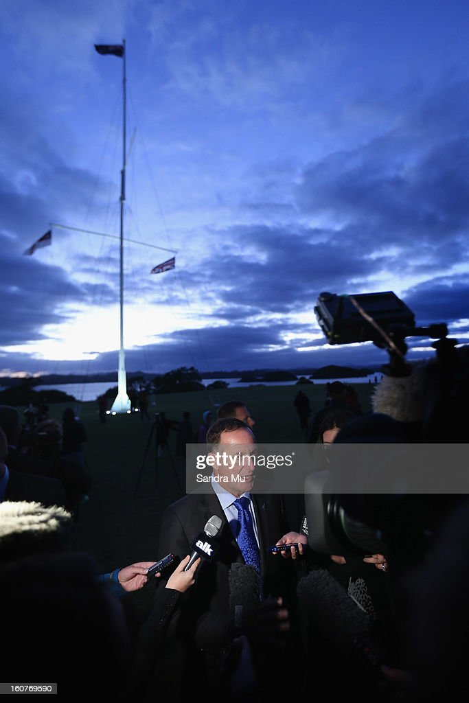 New Zealand Prime Minister <a gi-track='captionPersonalityLinkClicked' href=/galleries/search?phrase=John+Key&family=editorial&specificpeople=2246670 ng-click='$event.stopPropagation()'>John Key</a> talks to media after the dawn service at the Treaty Grounds on February 6, 2013 in Waitangi, New Zealand. The Waitangi Day national holiday celebrates the signing of the treaty of Waitangi on February 6, 1840 by Maori chiefs and the British Crown, that granted the Maori people the rights of British Citizens and ownership of their lands and other properties.
