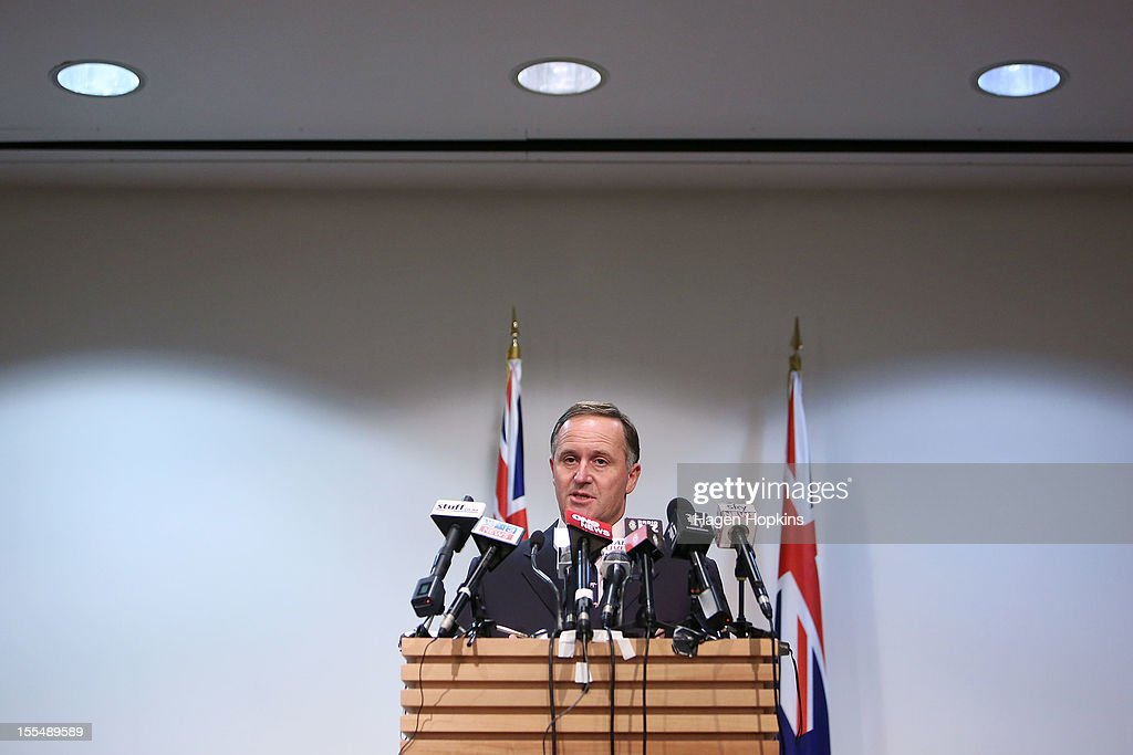 New Zealand Prime Minister <a gi-track='captionPersonalityLinkClicked' href=/galleries/search?phrase=John+Key&family=editorial&specificpeople=2246670 ng-click='$event.stopPropagation()'>John Key</a> talks to the media at a press conference at The Beehive, New Zealand Parliament Buildings on November 5, 2012 in Wellington, New Zealand. The findings of the royal commission into New Zealand's Pike River mine disaster have been made public today. It has been almost two years since the explosions at the coal mine on the South Island, killing 29 people.