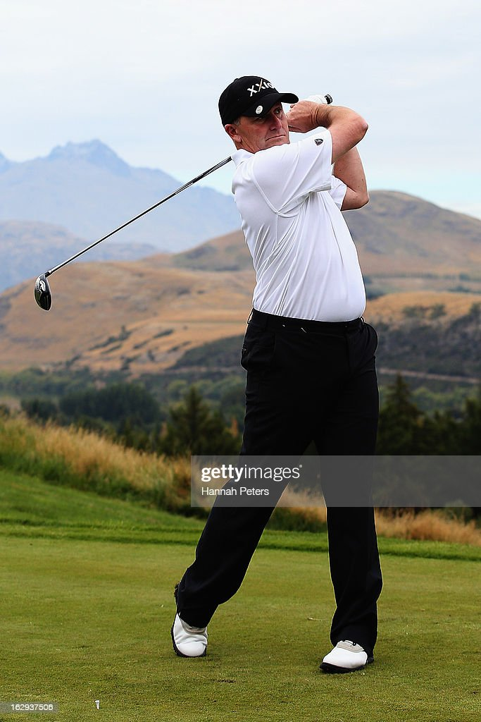 New Zealand Prime Minister <a gi-track='captionPersonalityLinkClicked' href=/galleries/search?phrase=John+Key&family=editorial&specificpeople=2246670 ng-click='$event.stopPropagation()'>John Key</a> tees off during day three of the NZ PGA ProAm Championship at The Hills Golf Club on March 2, 2013 in Queenstown, New Zealand.