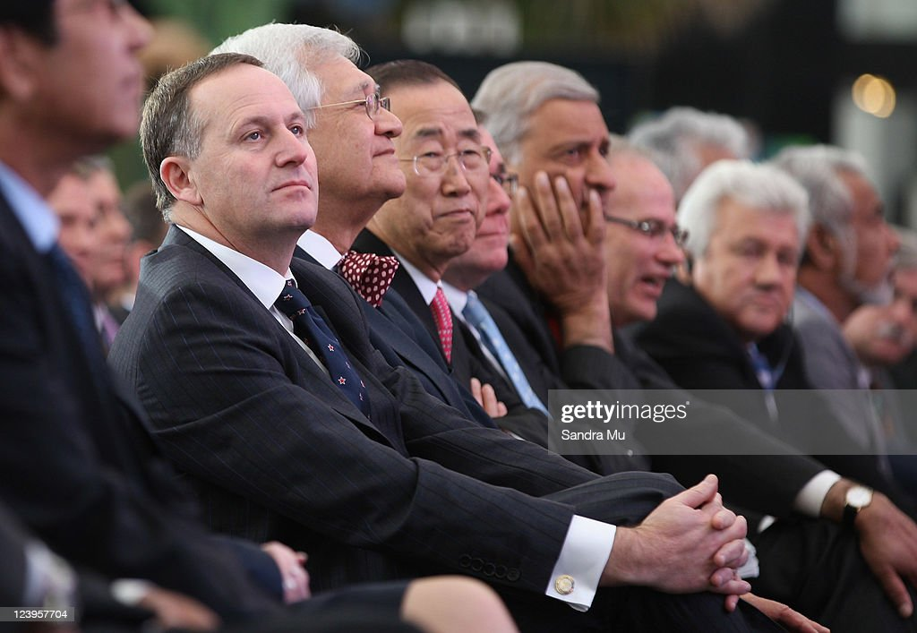 New Zealand Prime Minister <a gi-track='captionPersonalityLinkClicked' href=/galleries/search?phrase=John+Key&family=editorial&specificpeople=2246670 ng-click='$event.stopPropagation()'>John Key</a> (L) watches cultural performances with Ban Ki-moon, UN Secretary General during the Official Opening of the 42nd Pacific Forum at the Cloud on September 7, 2011 in Auckland, New Zealand. The annual gathering of leaders of the pacific nations has attracted heavyweight list of guests this year including United Nations Secretary General Ban Ki-moon, European Commission President Jose Manuel Barroso, the French Foreign Minister and the US Deputy Secretary of State. The forum conclusion coincides with the Opening Ceremony of the Rugby World Cup.
