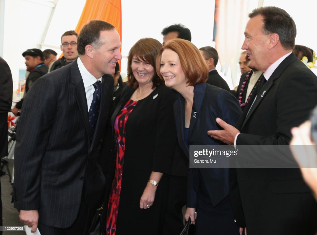 New Zealand Prime Minister <a gi-track='captionPersonalityLinkClicked' href=/galleries/search?phrase=John+Key&family=editorial&specificpeople=2246670 ng-click='$event.stopPropagation()'>John Key</a> (L) with his wife Bronagh Key explain the cultural activites to Australian Prime Minister <a gi-track='captionPersonalityLinkClicked' href=/galleries/search?phrase=Julia+Gillard&family=editorial&specificpeople=787281 ng-click='$event.stopPropagation()'>Julia Gillard</a> and her partner Tim Mathieson (R) before the Official Opening of the 42nd Pacific Forum at The Cloud on September 7, 2011 in Auckland, New Zealand. The annual gathering of leaders of the pacific nations has attracted heavyweight list of guests this year including United Nations Secretary General Ban Ki-moon, European Commission President Jose Manuel Barroso, the French Foreign Minister and the US Deputy Secretary of State. The forum conclusion coincides with the Opening Ceremony of the Rugby World Cup.