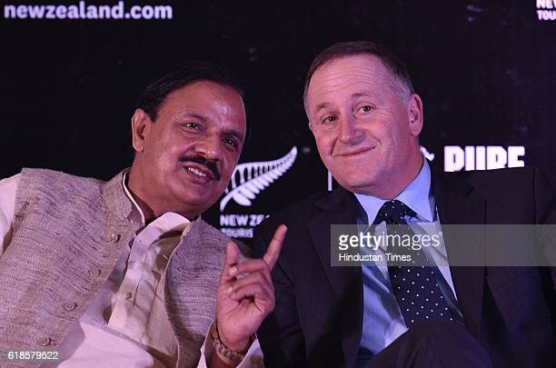 New Zealand Prime Minister John Key with Minister of Culture Mahesh Sharma during an event to promote New Zealand Tourism in India on October 27 2016...