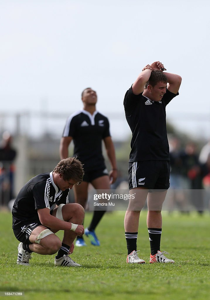 New Zealand react after the final whistle during the Test between New Zealand Schools and Australia Schools at Auckland Grammar on October 6, 2012 in Auckland, New Zealand.
