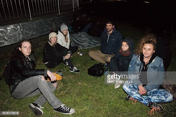 New Zealand residents camp near the top of Mt Victoria the highest hill in Wellington on early November 14 following an earthquake centred some 90...
