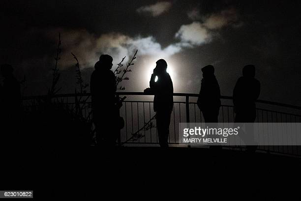 New Zealand residents standnear the top of Mt Victoria the highest hill in Wellington on early November 14 following an earthquake centred some 90...