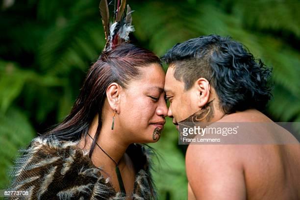 New Zealand, Rotorua, Maori hongi greeting.