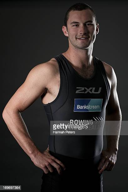 New Zealand rower Michael Arms poses during a New Zealand rowing portrait session at Lake Karipiro on May 31 2013 in Cambridge New Zealand