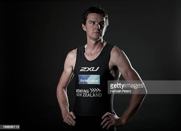 New Zealand rower Peter Taylor poses during a New Zealand rowing portrait session at Lake Karipiro on May 31 2013 in Cambridge New Zealand