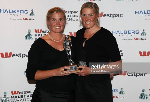 New Zealand rowing champions Georgina Earle and Caroline Meyer win the Winner of the Decade award during the 2009 Halberg Awards at Sky City on...
