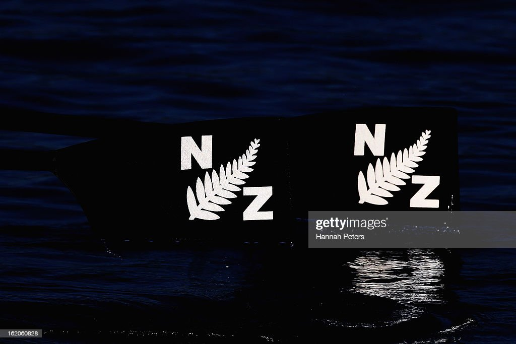 New Zealand Rowing oars are seen in action during the New Zealand Rowing Championships at Lake Ruataniwha on February 19, 2013 in Twizel, New Zealand.