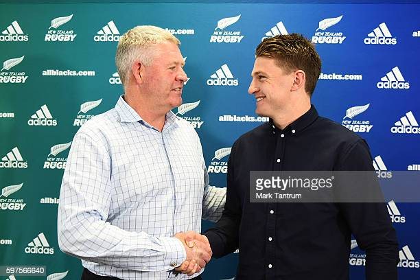 New Zealand Rugby Chief Executive Steve Tew and Beauden Barrett shake hands after Barret resigned with the All Blacks and Hurricanes teams at New...