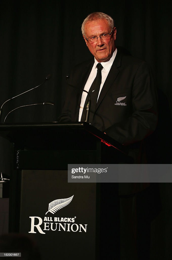 New Zealand Rugby Union Chairman Mike Eagle speaks during the New Zealand All Blacks reunion dinner on September 14, 2012 in Dunedin, New Zealand.