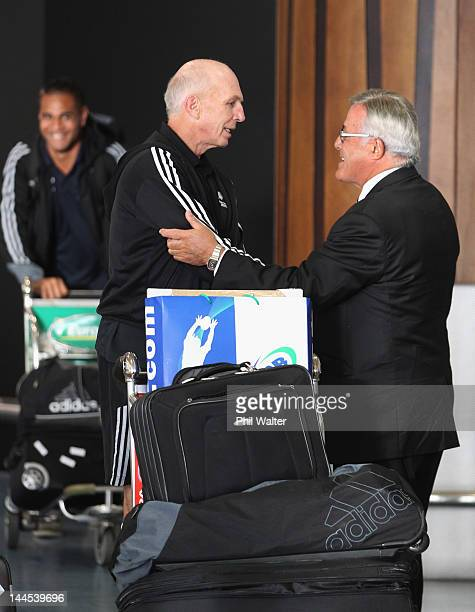 New Zealand Rugby Union President Bryan Williams welcomes home New Zealand Sevens coach Gordon Tietjens upon the teams arrival home at Auckland...